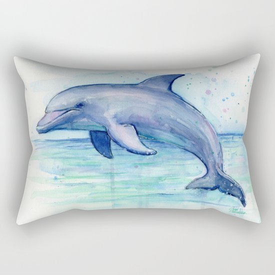 Dolphin Watercolor Sea Creature Animal Rectangular Pillow