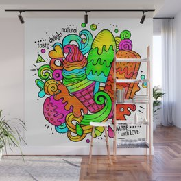 Ice Cream Sweets in Rainbow Neon Wall Mural
