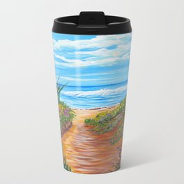 Ocean Beach Painting, Impressionism Wall Art, Beach House Home Decor Travel Mug