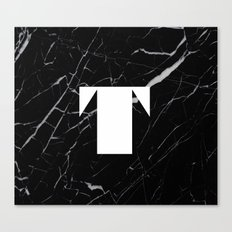 Black Marble - Alphabet T Canvas Print