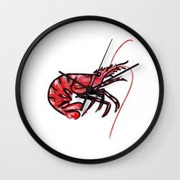 Single Shrimp Illustration Wall Clock
