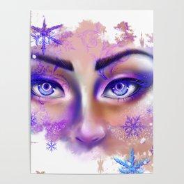 snow beautiful winter snowflakes eyes girl Poster