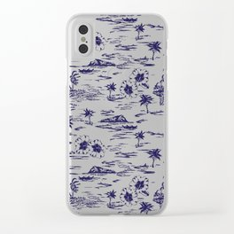 Tropical Island Vintage Hawaii Summer Pattern in Navy Blue Clear iPhone Case