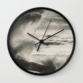Lashing the Coast Wall Clock