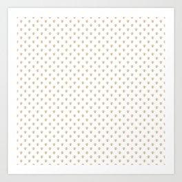 Mini Gold Metallic Faux Foil Photo-Effect Bees on White Art Print