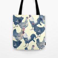 chicken Tote Bags featuring CHICKEN by austeja saffron