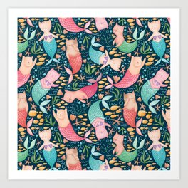 Mercats Galore Pattern Art Print