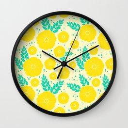 Lemon Yellow Floral Pattern Wall Clock