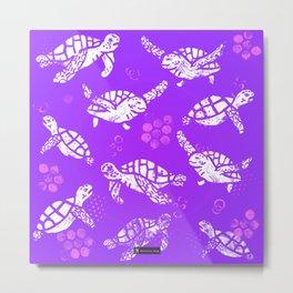 White turtle print on purple Metal Print
