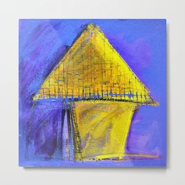 Yellow house on blue Metal Print