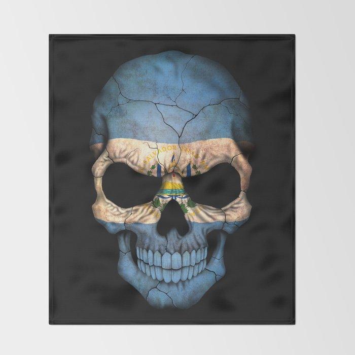 Dark Skull with Flag of El Salvador Throw Blanket