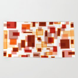 Red Abstract Rectangles Beach Towel