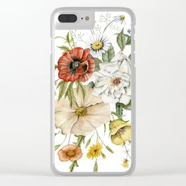 Wildflower Bouquet on White Clear iPhone Case