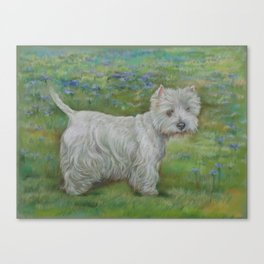 Westie on the meadow West Highland White Terrier Cute dog portrait on the landscape Pastel painting Canvas Print