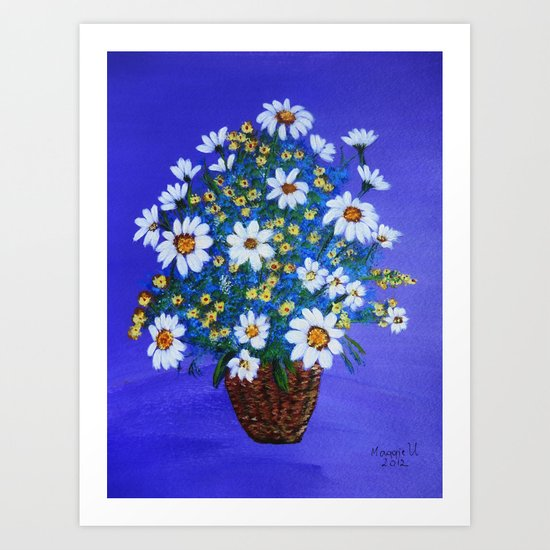 Flowers in the basket Art Print