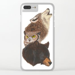 The Wolf, The Owl and The Bear Clear iPhone Case