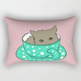 Fluffy Kitten In A Teacup Pink Background Rectangular Pillow
