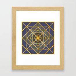 Gold Plated Preppy Blue Mandala Framed Art Print