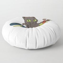 Cute Catastrophe Kitten Spilling Drinks Floor Pillow