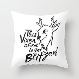 Vixen Fixin' in black distressed Throw Pillow
