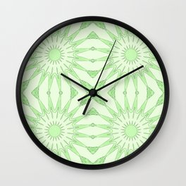 Pastel Green Pinwheel Flowers Wall Clock