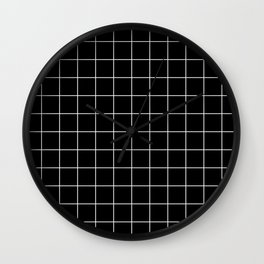Grid Line Stripe Black and White Minimalist Geometric Wall Clock