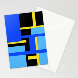 Rectangles - Blues, Yellow and Black Stationery Cards