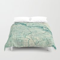 vintage map Duvet Covers featuring Amsterdam Map Blue Vintage by City Art Posters