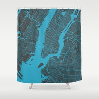 new york map Shower Curtains featuring new york map by Map Map Maps