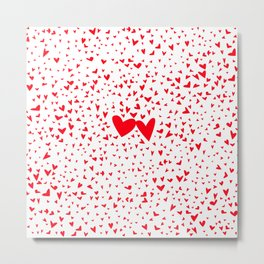 Red Tiny Love Hearts Background Metal Print
