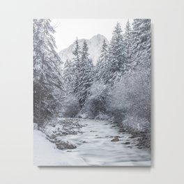 River flowing through snowy winter forest Mojstrana, Slovenia Metal Print