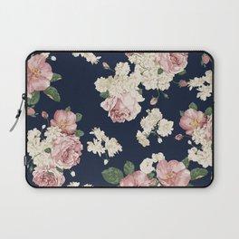 Pink Roses on dark blue pattern Laptop Sleeve