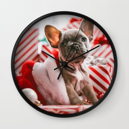 Red & White Christmas Pup (Color) Wall Clock