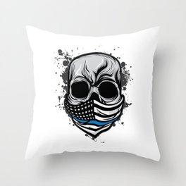 Here's A Unique Design Of A Braincase Skull With An American Flag Scarf On T-shirt Design Gray Tones Throw Pillow