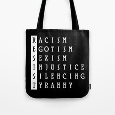 Resist : a political protest Tote Bag
