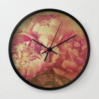 peonies Wall Clocks featuring Peonies by V. Sanderson / Chickens in the Trees