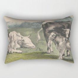 Vintage Cattle Farm Illustration (1856) Rectangular Pillow