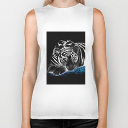 The black tiger with silver whiskers weeps over the world .. Biker Tank