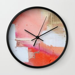 Moving Mountains: a minimal, abstract piece in reds and gold by Alyssa Hamilton Art Wall Clock