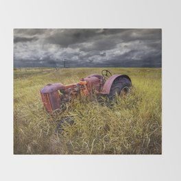 Abandoned Farm Tractor on the Prairie Throw Blanket