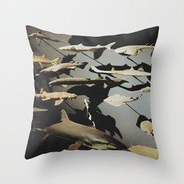 Shark Wall Throw Pillow