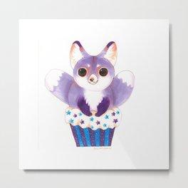 Purple Two Tailed Fox Cupcake Metal Print