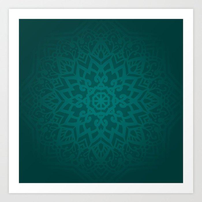 Abstract Mandala Flower Decoration 6 Jade Color Art Print