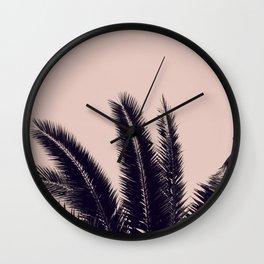 PALM TREE ROSE BLACK Wall Clock