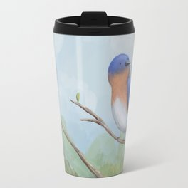 Bluebird on Branch Travel Mug