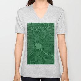 Green Geek Motherboard Circuit Pattern Unisex V-Neck