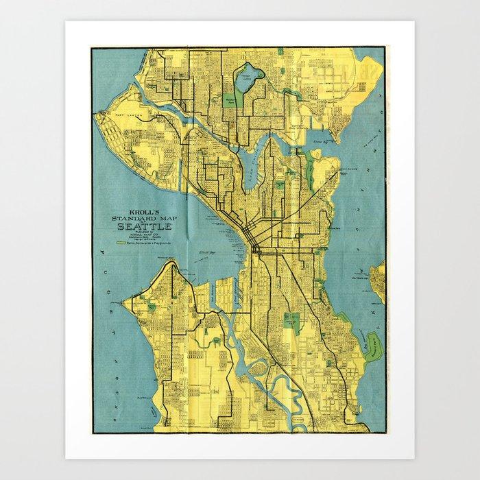 Vintage Map of Seattle Washington (1914) Art Print by bravuramedia