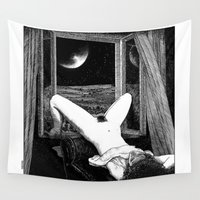 apollonia Wall Tapestries featuring asc 558 - Le clair de femmes (Moonstruck) by From Apollonia with Love