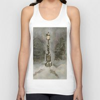 narnia Tank Tops featuring Lamp Post in Blue by Jen Hallbrown