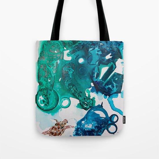 Turtle Exploring the Great Deep Blue Sea Tote Bag